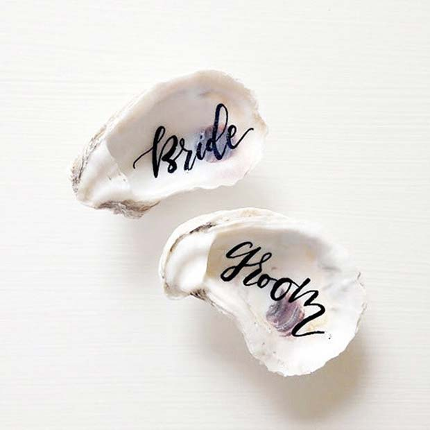 Creative Oyster Calligraphy Place Card Idea for Beach Wedding