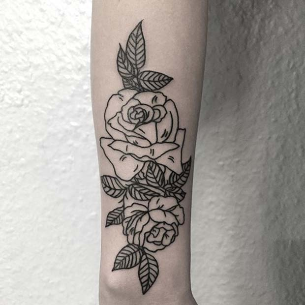 Two Black Ink Roses Tattoo Idea