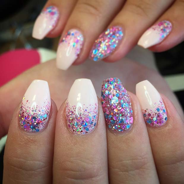 Multi Glitter Gel Manicure for Glitter Nail Design Idea - 23 Gorgeous Glitter Nail Ideas For The Holidays StayGlam