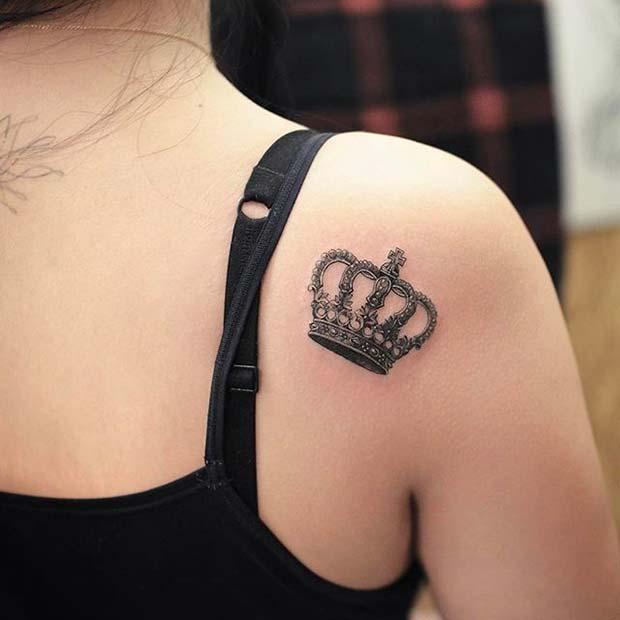 Shoulder Crown Tattoo Idea for Women