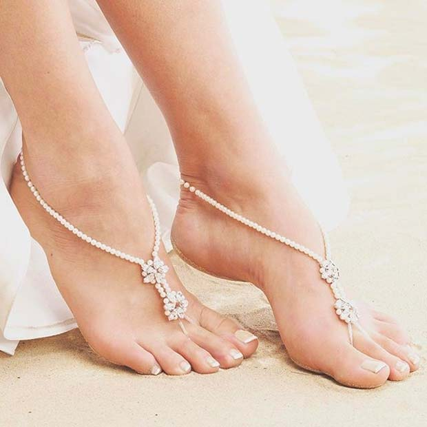 Pearl Bridal Barefoot Sandals for a Beach Wedding Idea