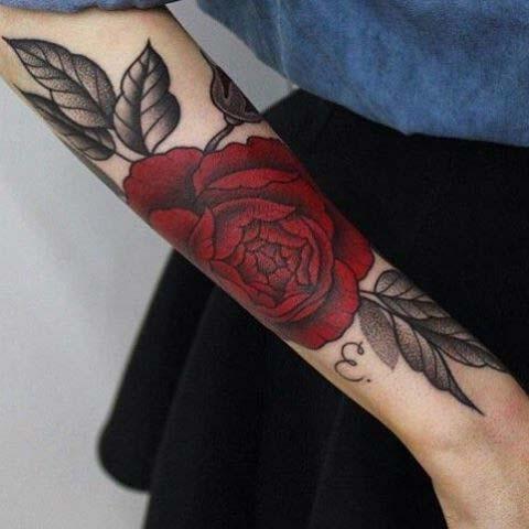 Bold Dark Red Rose Tattoo Design