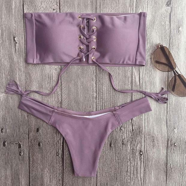 Light Purple Lace up Two Piece Bathing Suit for Summer 2017