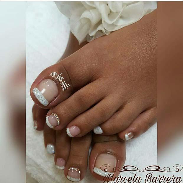 Glitter French Pedicure for a Wedding Pedicure Idea for Brides