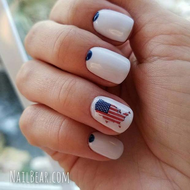 Patriotic American Flag Map 4th of July Nail Design Idea