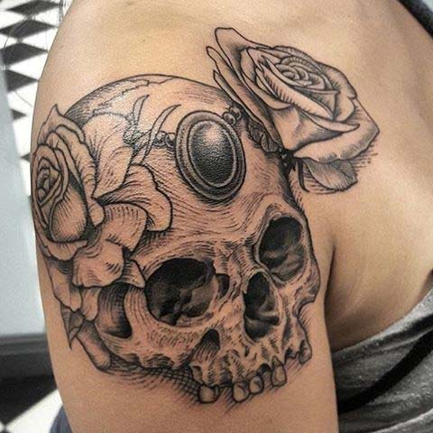 Skull Shoulder Tattoo for Badass Tattoo Idea for Women