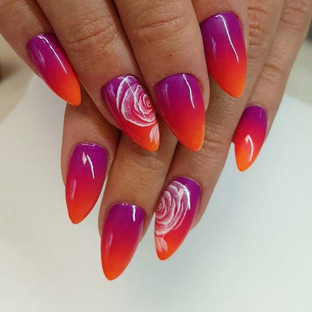 Ombre Design with Rose Accent Nail for Summer Nails Idea