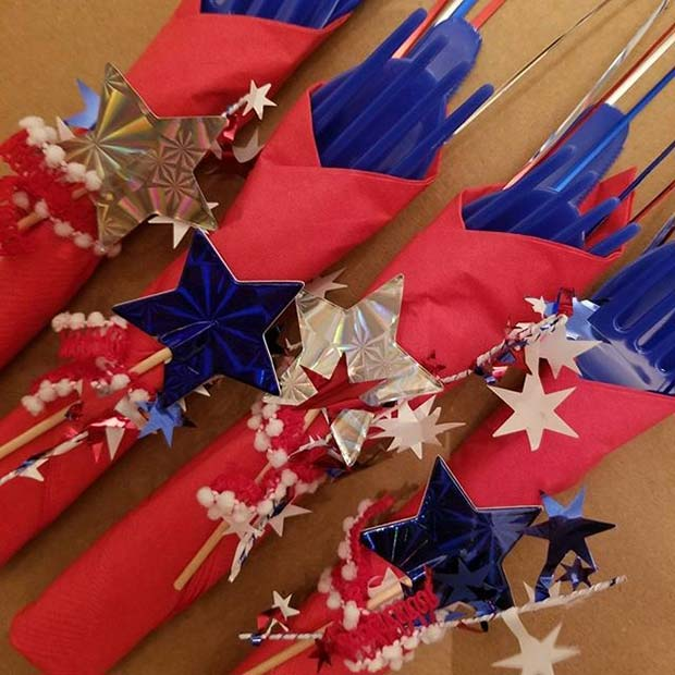 Red, White, Blue and Stars Cutlery for 4th of July Party Ideas