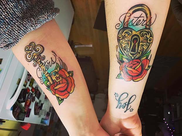 Traditional Style Sister Lock and Key for 23 Sister Tattoos