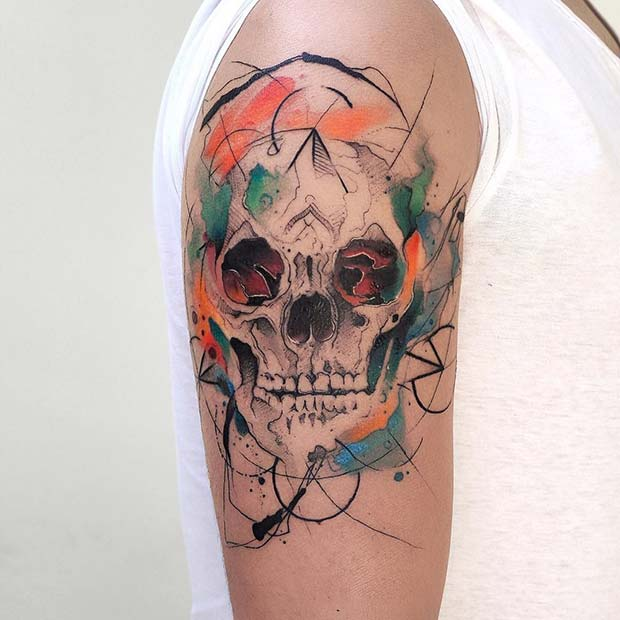 Creative Skull for Badass Tattoo Idea for Women