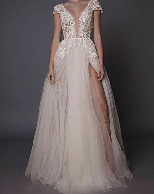 Thigh High Leg Split Dress for Summer Wedding Dresses for Brides