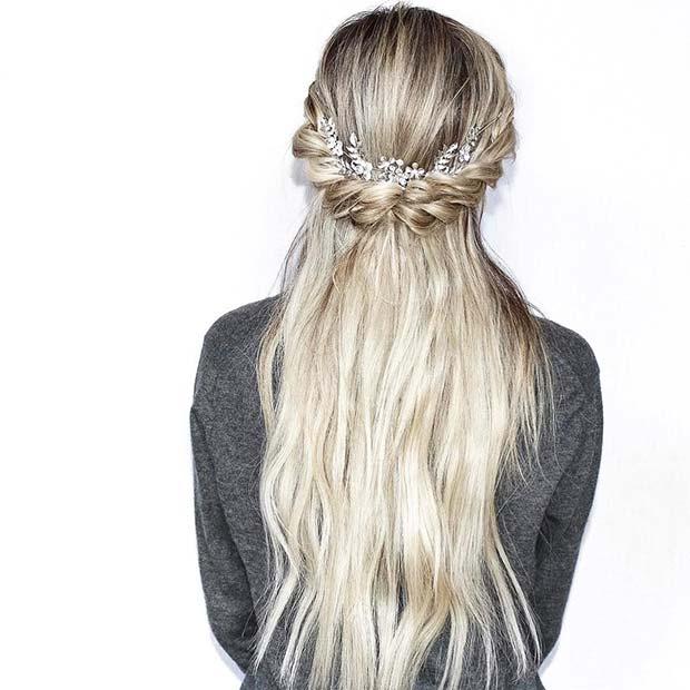 Boho Half Up Half Down Style for Bridesmaid Hair Ideas