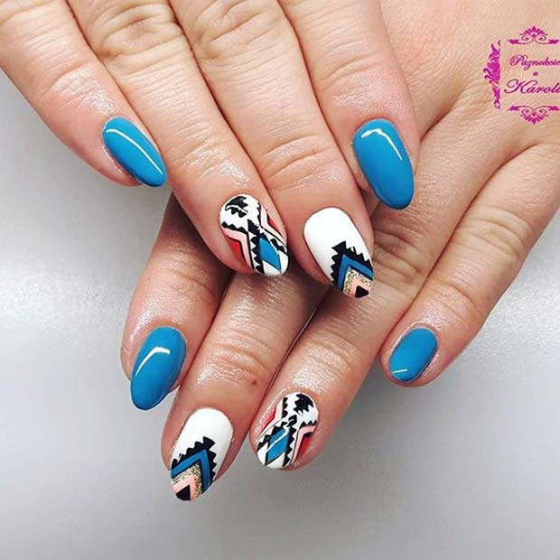 Funky Aztec Design for Summer Nails Idea