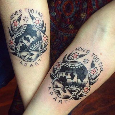 Matching Globe Tattoo for Sister Tattoos