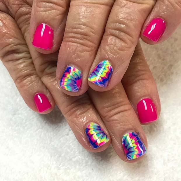 Tie Dye Nail Art for Summer Nails Idea