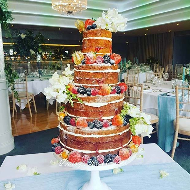 Unfrosted Multi Tier Cake for Summer Wedding Cakes