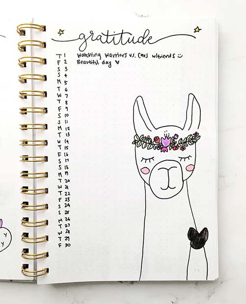 Gratitude Page for Bullet Journal Ideas