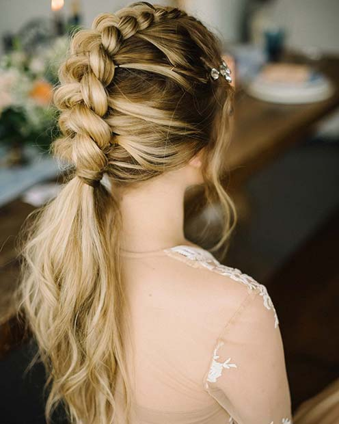 Braid into a Ponytail Formal Hairstyle