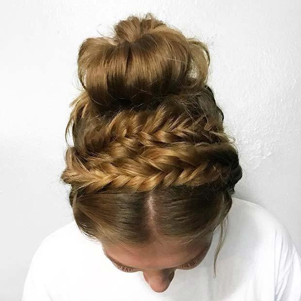 Cute Braided Updo Idea for Summer
