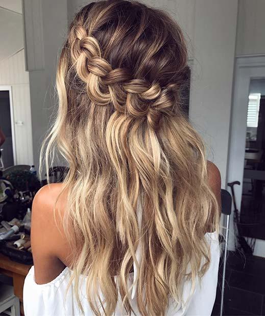 Loose Waterfall Braid for Bridesmaid Hair Ideas