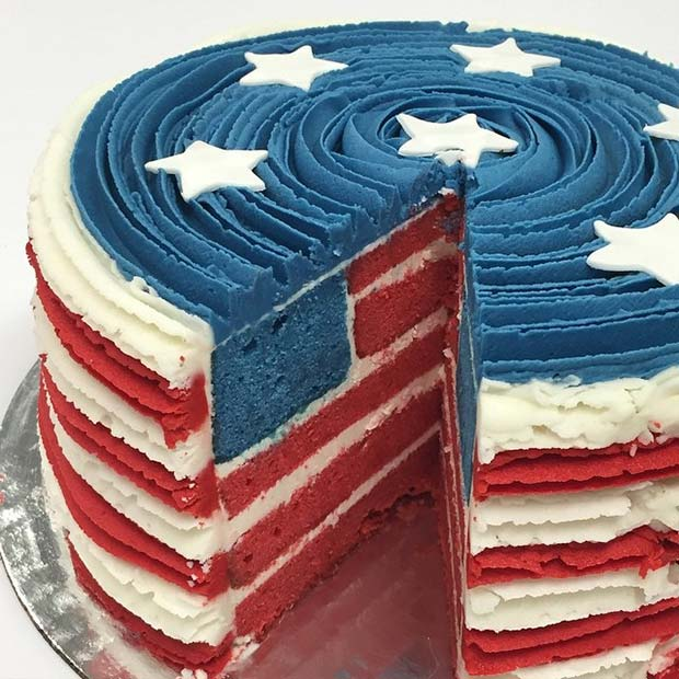 Stars and Stripes Flag Cake for 4th of July Party Idea