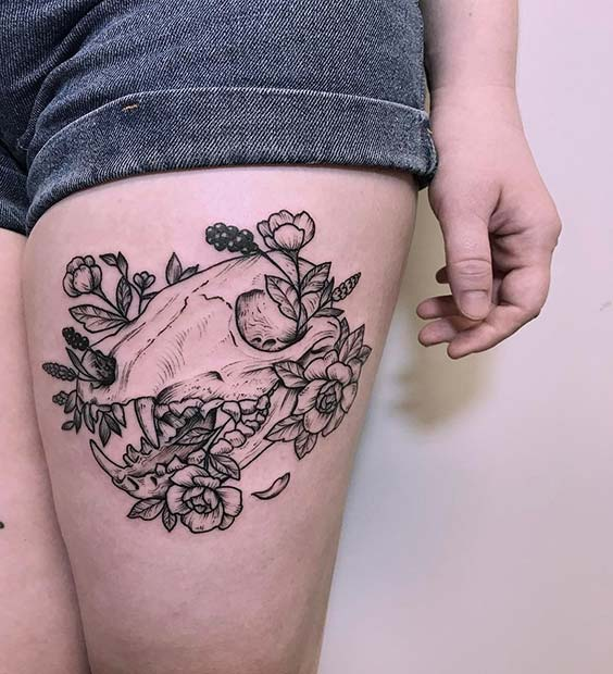 Skull Thigh Tattoo for Badass Tattoo Idea for Women