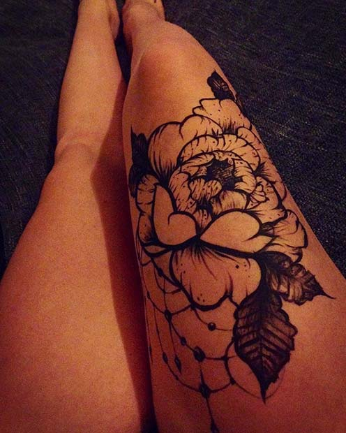 Floral Thigh Tattoo for Badass Tattoo Idea for Women