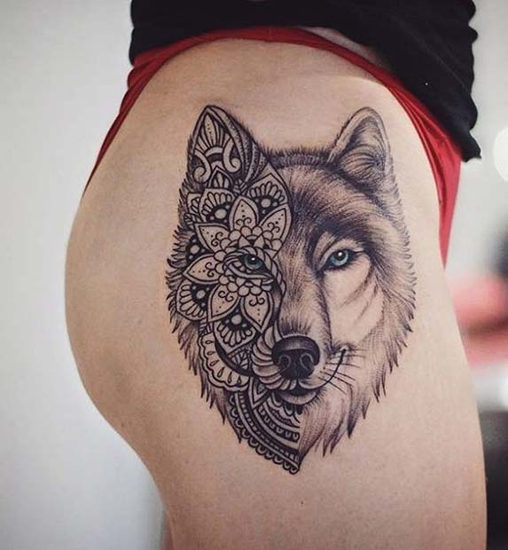 Wolf Thigh Tattoo for Badass Tattoo Idea for Women