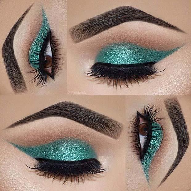 Light Green Sparkly Eyes for Summer Makeup Ideas