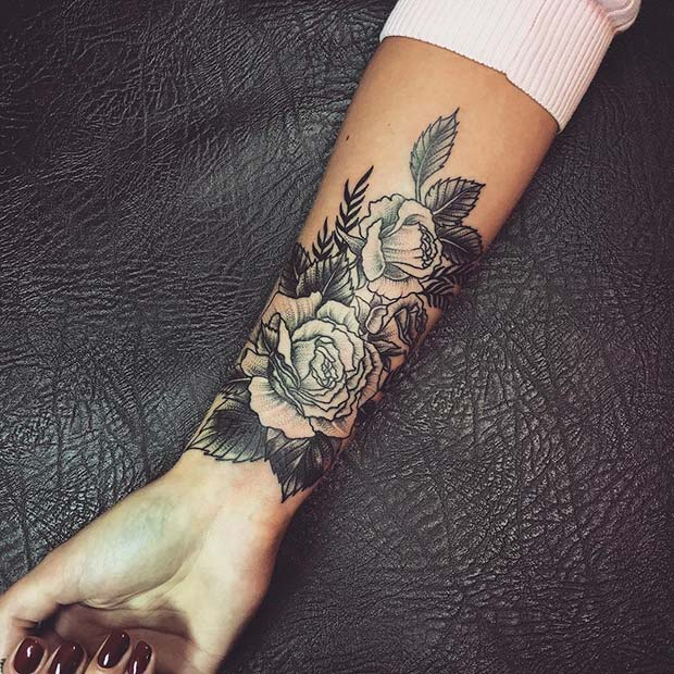 Rose Arm Tattoo for Badass Tattoo for Women