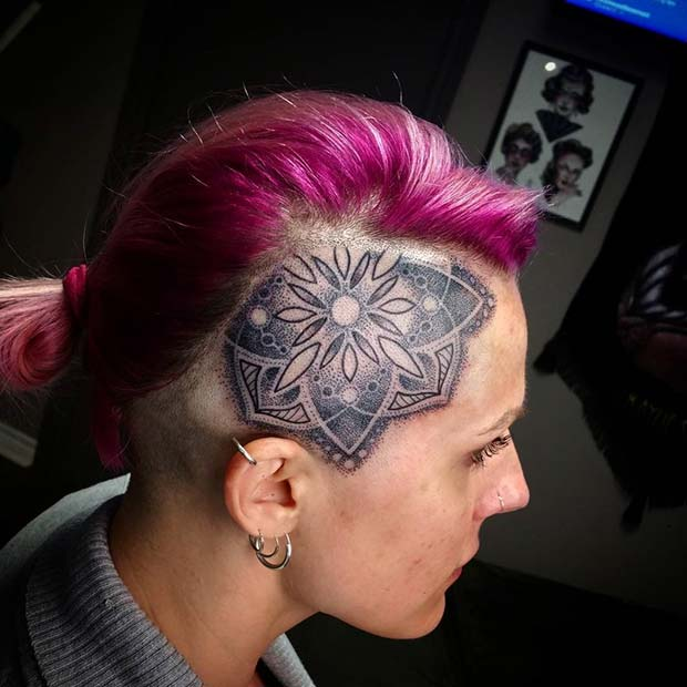 Head Tattoo for Badass Tattoo Idea for Women