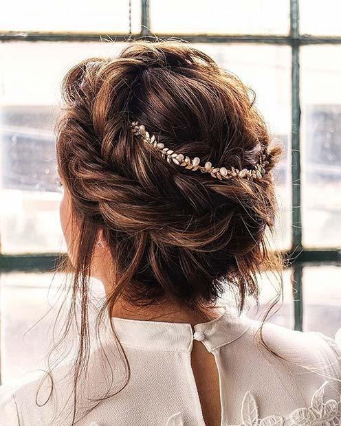 Accessorized Crown Braid for Bridesmaid Hair Ideas
