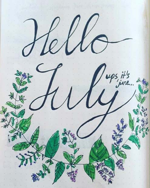 Creative Month Page for Bullet Journal Ideas