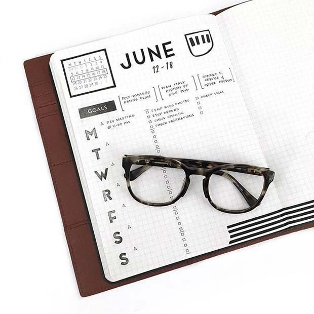 Trendy Weekly Planner for Bullet Journal Ideas