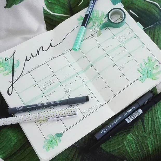 Pretty Monthly Calendar for Bullet Journal Ideas