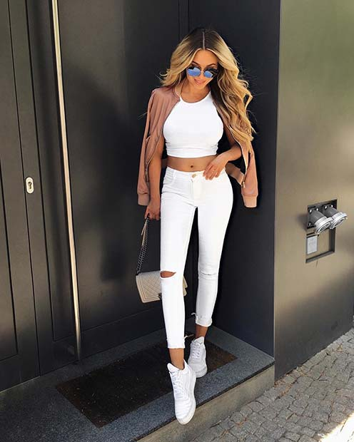 All White Outfit for Casual Summer Outfits