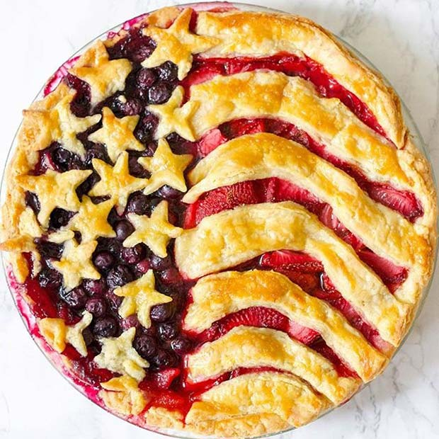 American Flag Pie for 4th of July Party Ideas