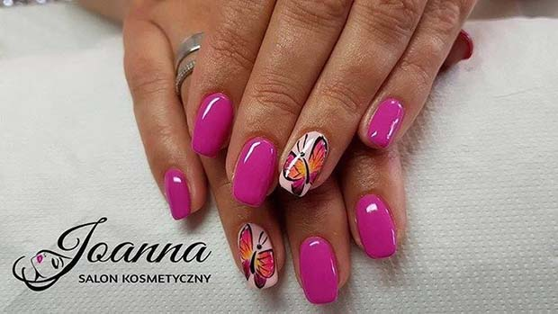 Bright Pink and Butterfly Nail Art for Summer Nails Idea