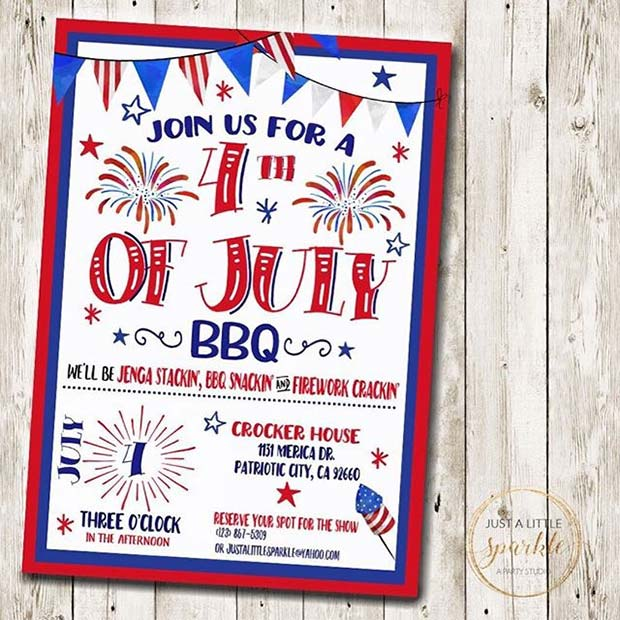 4th of July Invitation for 4th of July Party Ideas