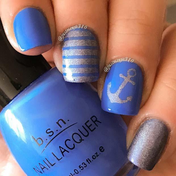 Nautical Anchor Nail Design for Summer Nails Idea