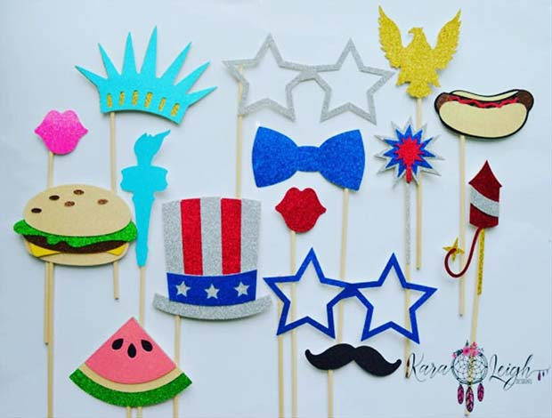 America Themed Photo Booth Props for 4th of July Party Idea