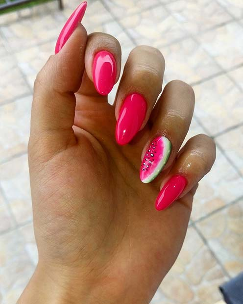 Watermelon Accent Nail for Summer Nails Idea