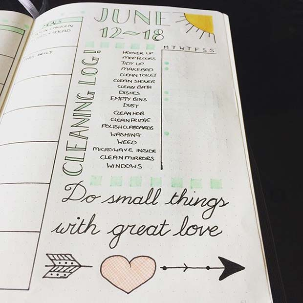 Weekly Cleaning Log for Bullet Journal Ideas