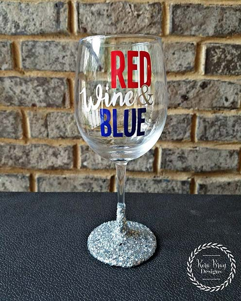 Red Wine and Blue Glasses for 4th of July Party Ideas