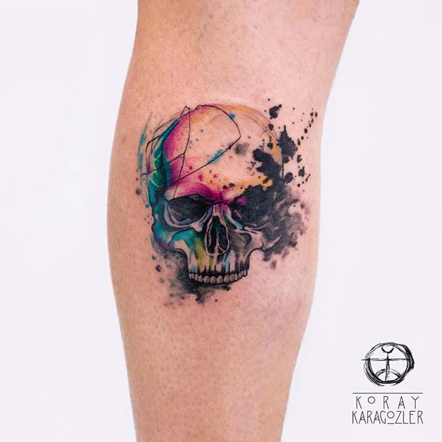 Watercolor Skull for Badass Tattoo Idea for Women