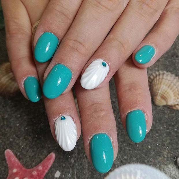 Turquoise Nails with Shell Accent Nail for Summer Nails Idea