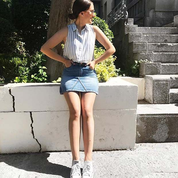 Denim Skirt and Sneakers for Casual Summer Outfits