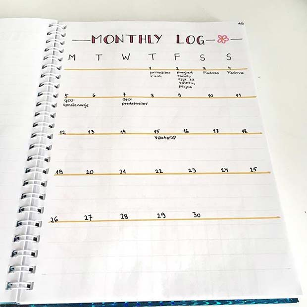 Simple Monthly Log for Bullet Journal Ideas