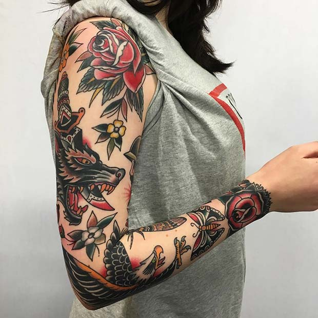 Traditional Sleeve for Badass Tattoo Idea for Women