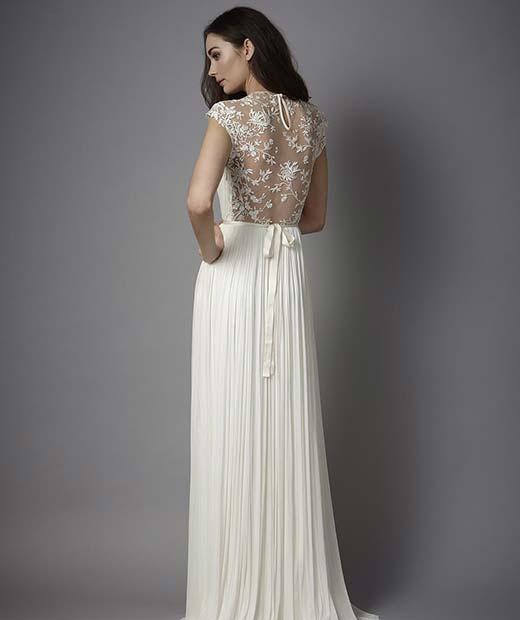 Sheer Lace Back Design for Summer Wedding Dresses for Brides